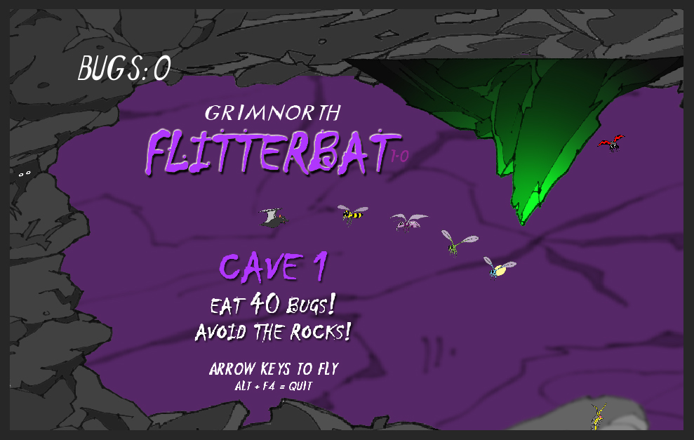 Flitterbat - The Video Game - Cave 1 with purple background and green rock.